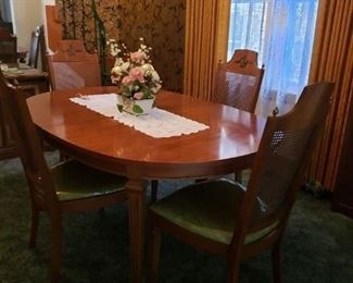 "Vintage MCM Mid Century Solid wood with burled accents China Cabinet & Hutch, Dining Room Table w/3 Leafs & 6 Lenore chair Co. Cane back, green padded fabric seat Chairs (2 arm & 4 side) Table 64""W x 44""D x 29""H leafs 12""W each China cabinet 60""W x 17""D x 765.25""H Entire Set WAS $1995 NOW $1495"