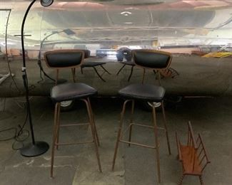 mid century leather and bent wood bar chairs