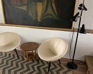 Saucer chairs, mid century, Lane table, mid century brass and metal floor lamp