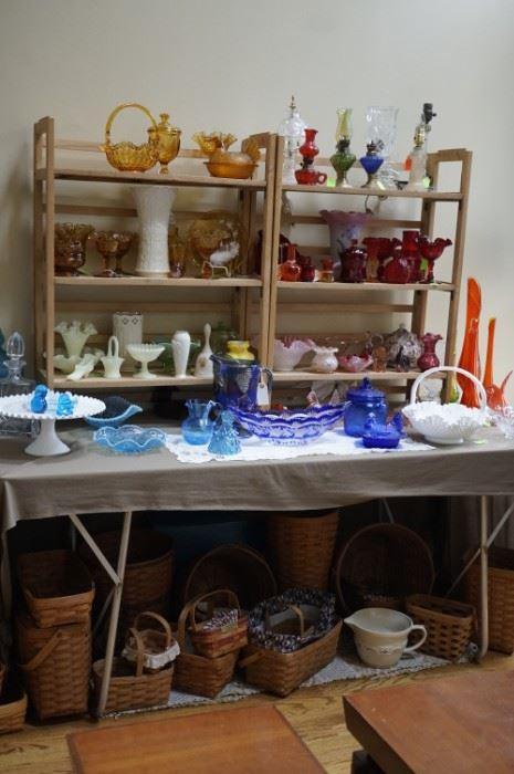 Glassware and Longaberger baskets