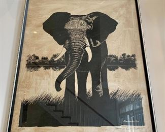 $250 - Artist James Omohundro Limited Edition Artist Proof, Signed on Rice Paper - Elephant - 31 x 24.75