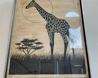 $250 - Artist James Omohundro Limited Edition Artist Proof, Signed on Rice Paper - Giraffe - 31 x 24.75