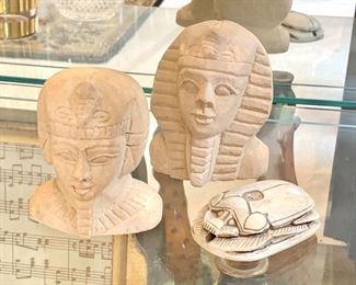 $10 each - Stone Egyptian Pharaohs and Scarab