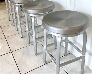 $250 - Crate and Barrel Silver Swivel Bar Stools (set of 4) - 14.75d x 24h