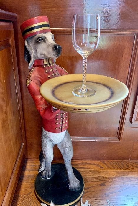 We are serving up an incredible sale! Come out and have some fun!((SOLD- $58, butler pup.)) Has a few imperfections on paws - but can still hold a cocktail with no problem. :)