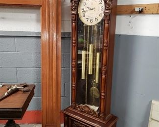 """Westminster quartz faux wood battery-powered Grandfather clock works Approximately 76 1/2 inches tall by 23 3/4 inches wide by 11.25"""" deep. Clock itself is 19 1/2 inches wide By 8"""" deep.     $295"""