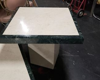 """3 Pc Marble Coffee Table, End Table & Entrance Side Table.  Coffee Table: 40"""" x 40"""" x16""""H End Table: 26.5"""" x 26.5"""" x 25""""H  Side Table 5' x 15""""D x 33""""H  $1195 for set"""