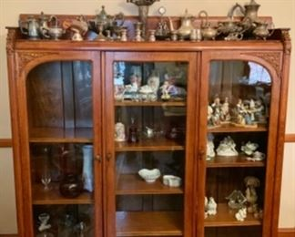 Early Oak Spectacular Carved Display Cabinet with Glass Doors