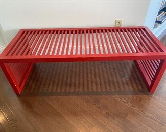 "Lot #6 $250 Red slat bench  55""l X 22""d X 18""h"