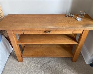 "Lot#8 $125- Wood table one drawer. 4'W x 16""D x 29""H"