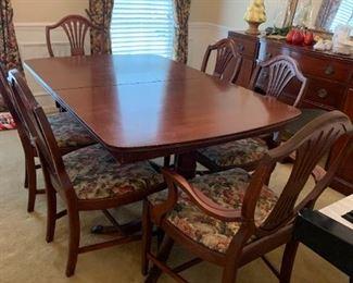 #1tableFinch Fine Furn. Double Pedistal Table w/inside Stored Leaf w/6 chairs  60-72x40x31  (as is foot) $ 200.00