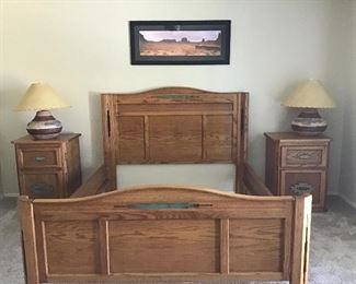 Queen bed frame, headboard. 2 matching night stands