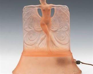 McKee Cast Glass Danse de Lumiere Boudoir Lamp