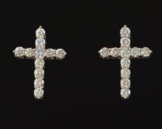 Pair of Diamond Cross Earrings