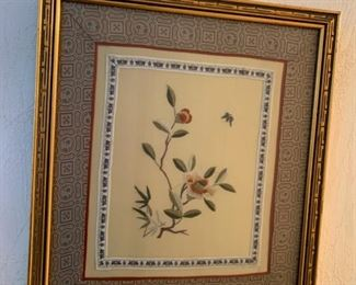#50 lot of 3 vintage Chinese embroideries, framed—$48