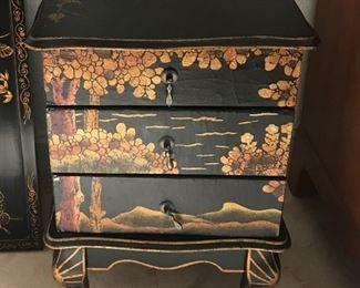 "Oriental Black Lacquer Jewelry Box Chest  10""x14""x20"""