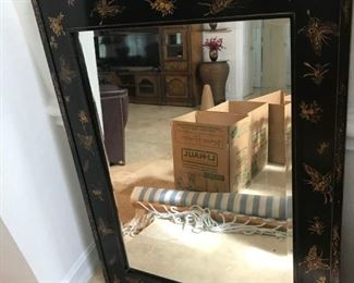 Large Black Lacquer Oriental Frame with Mirror   3 Feet x 4 Feet