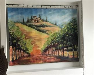 8 Ft x 15 Ft Oil Tapestry Painting of Italian Landscape,  by Polish Artist Miroslaw Chudy,   For size perspective and beauty, please see it hanging on the wall in the next photo.