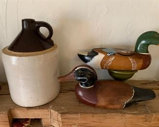 Wooden ducks , jug