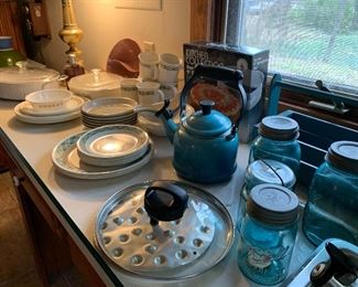 corolla, blue canning jars, teapot ....