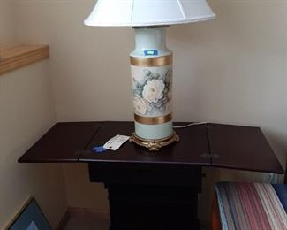 Drop-leaf table; hand painted china lamp (one of pair)