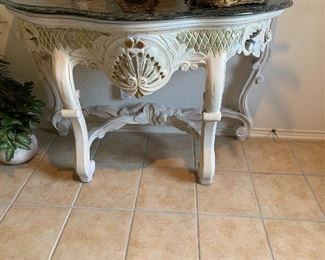 $725~ OBO~ CARVED WOODEN AND TRAVERTINE TOP ENTRY TABLE