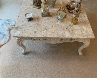 $675~ OBO~ TRAVERTINE TOP CARVED WOODEN BASE COFFEE TABLE