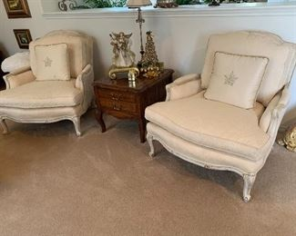 $325 Each - (two available) Custom upholstered French provincial arm chairs