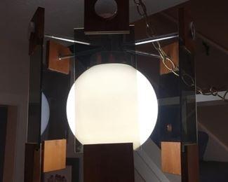 Vintage 1970's Glass & Wood Swag Lamp