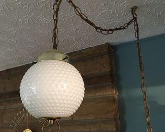 Hobnail Milk-Glass Swag Lamp