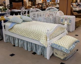 LOVE this adorable twin bed and comforter set!  Ad additional set is at the foot of this bed.