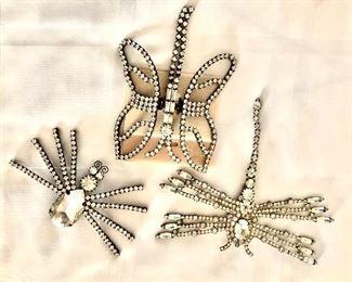 """$35 Ea - Rhinestone pins Dragonfly on right: 4.5"""" L, 5"""" W."""