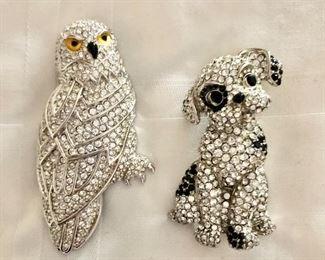 "$22 Ea  - Owl and dog rhinestone pins Owl on left: 3"" H, 1.5"" W."