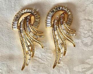 "$22 Each - Large rhinestone gold tone pins  3"" H, 1.5"" W."