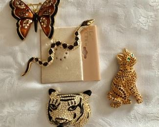 """$12 ea - Butterfly, Snake, Tiger and cat pins Snake in center: 4"""" L.  Snake and butterfly pin SOLD"""