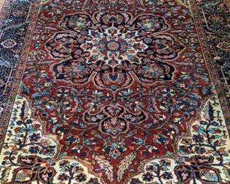 """GORGEOUS vintage Persian Heriz rug, hand-woven, 100% wool face, measures 8' 10"""" x 11' 7""""."""