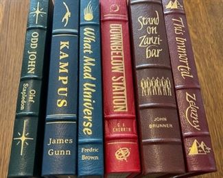 $90.00....................6 Easton Press Collectible Leather Books: Odd John, Kampus, What Mad Universe, Downbelow Staton, Satand on Zanzibar, This Immortal (B864)