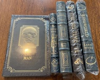$100.00....................5 Easton Press Collectible Leather Books Still In Original Shrink-wrap: The Invisible Man, The Crystal World, Ernest Hemingway, The Big Time, Ringworld (B866)