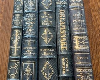 $100.00....................5 Easton Press Collectible Leather Books Still In Original Shrink-wrap: The Female Man, Saint Joan of Arc, The Survival of Charles Darwin, Dreamsnake, A Study in Power (B871)