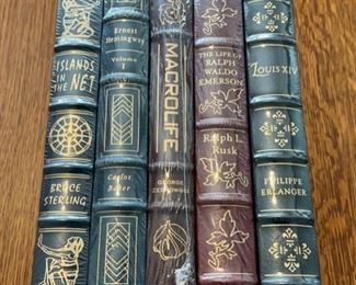 $100.00....................5 Easton Press Collectible Leather Books Still In Original Shrink-wrap: Islands in the Net, Ernest Hemingway Volume 1, Macrolife, The Life of Ralph Waldo Emerson, Louis XIV (B874)