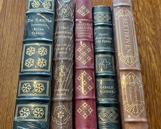$100.00....................5 Easton Press Collectible Leather Books Still In Original Shrink-wrap: De Gaulie, The American Leonardo, Galileo Galilei, Saint Augustine of Hippo, Beethoven (B876)