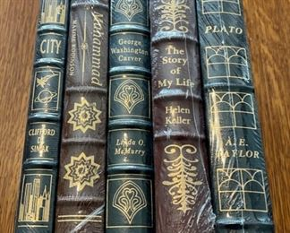 $100.00....................5 Easton Press Collectible Leather Books Still In Original Shrink-wrap: City, Muhammad, George Washington Carver, The Story of My Life Helen Keller, Plato (B878)