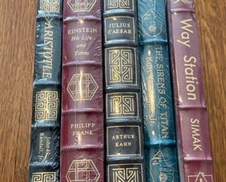 $100.00....................5 Easton Press Collectible Leather Books Still In Original Shrink-wrap : Aristotle, Einstein, Julius Caesar, The Sirens of Titan, Way Station (B841)