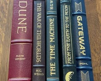 $75.00....................5 Easton Press Collectible Leather Books:Dune, The War of the Worlds, The Time Machine, From the Earth to the Moon, Gateway (B901)