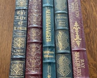 $100.00....................5 Easton Press Collectible Leather Books Still In Original Shrink-wrap: The Life of Lenin, John Audobon, Neuromanger, Tolstoy, Dandelion Wine (B850)