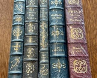 $100.00....................5 Easton Press Collectible Leather Books Still In Original Shrink-wrap: Jem, God Gave Us This Country, The Invasion of the Body Snatchers, Madame Curie, Freud (B851)