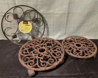"$8.00..................3 Plant Caddy's 2 at 13 1/2"" and 1 at 11"" (B722)"