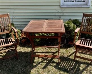 $150.00.............Pair of Folding Chairs and Table, Teak? Redwood?