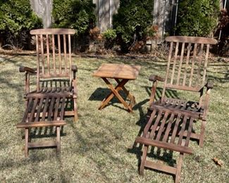 $200.00.................Pair of Folding Steamer Lounge Chairs, Teak? Redwood? Small table included