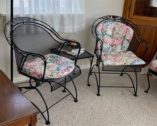 $150.00..................Pair of Windflower Mesh Barrel Coil Spring Chairs with one Table (B022-C)